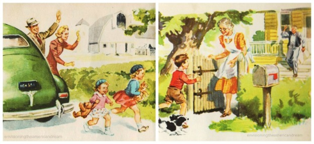 vintage childrens schoolbook illustration Dick Jane & Sally